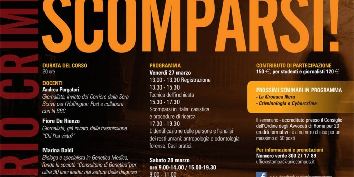 Criminologia: all'eCampus un seminario sugli scomparsi