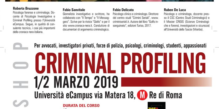 Il Criminal Profiling lo spiega il nuovo seminario Nerocrime