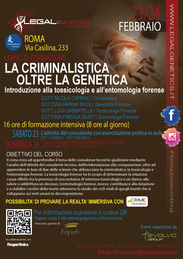 """Legalgenetics, 23 e 24 febbraio """"La criminalistica oltre la genetica"""": il ruolo del consulente tecnico forense"""